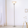 Torchiere Floor Lamp-Standing Light with Sturdy Metal Base and Marbleized Glass Shade-Energy Saving LED Bulb Included-by Lavish Home (Brushed Silver)