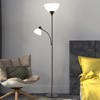 Torchiere Floor Lamp with Reading Light-Sturdy Metal Base, Heat Resistant Plastic Shade-Energy Saving LED Bulbs Included-by Lavish Home (Black Finish)