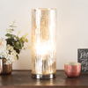 LED Uplight Table Lamp with Silver Mercury Finish, Textured Tree Bark Pattern and Included LED Light Bulb for Home Uplighting by Lavish Home