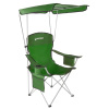Camp Chair with Canopy-300lb. Capacity Sunshade Quad Seat with Cup Holder, Cooler, Carry Bag-Tailgating, Camping, Fishing by Wakeman Outdoors (Green)