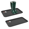 All Weather Boot Tray - Medium Water Resistant Plastic Utility Shoe Mat for Indoor and Outdoor Use in All Seasons by Stalwart (Set of Two, Dark Grey)