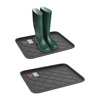 All Weather Boot Tray - Small Water Resistant Plastic Utility Shoe Mat for Indoor and Outdoor Use in All Seasons by Stalwart (Set of Two, Dark Grey)