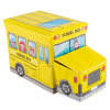 Collapsible Truck School Bus Toybox - Folding Storage Bin Playroom, Bedroom or Nursery Organizer Container for Dress Up, Stuffed Animals by Hey! Play!