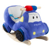 Rocking Police Car Toy- Kids Plush Stuffed Ride on Wooden Rockers with Sounds, Handles-Make Believe Fun for Boys, Girls, Toddlers by Happy Trails