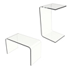 Acrylic Side Table-Clear and Modern C-Style Vertical End Table for Food, Beverage, and D�cor or Horizontal Lap Desk for Work and Laptop by Lavish Home