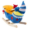 Boat Rocker Toy-Kids Ride On Soft Fabric Covered Wooden Rocking Ship-Neutral Design for Any Nursery-Fun for Toddler Boys and Girls by Happy Trails