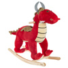 Rocking Animal Toy- Kids Ride on Plush Stuffed Dragon on Wooden Rockers with Handles, Fun for Boys, Girls, Toddlers by Happy Trails (Red)