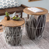Nesting End Tables with Storage- Set of 2 Convertible Round Metal Basket Veneer Wood Top Accent Side Tables for Home and Office By Lavish Home (White)