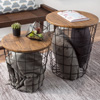Nesting End Tables with Storage- Set of 2 Convertible Round Metal Basket Veneer Wood Top Accent Side Tables for Home and Office By Lavish Home (Black)