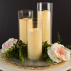 Flameless LED Candles-Set of 3 Battery Powered Decorative Flickering Candles in Cylinder Glass Insert Holders with Remote and Timer by Lavish Home