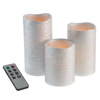 Flameless LED Candles-Set of 3 Real Wax Battery Powered Pillar Candles with Remote, Timer and Distressed Silver Metallic Finish by Lavish Home
