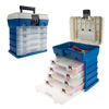 Storage Tool Box-Durable Organizer Utility Box-4 Drawers, 19 Compartments Each for Camping Supplies and Fishing Tackle by Wakeman Outdoors (Dark Blue)