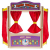 Wooden Tabletop Puppet Theater with Curtains, Blackboard, and Clock- Inspires Imagination and Creativity for Kids, Boys and Girls By Hey! Play!