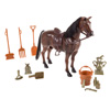Toy Horse Set with Accessories, Brushable Mane and Tail, and Moving Head for Pretend Play- Includes Grooming Brush, Saddle, Trophy By Hey! Play!