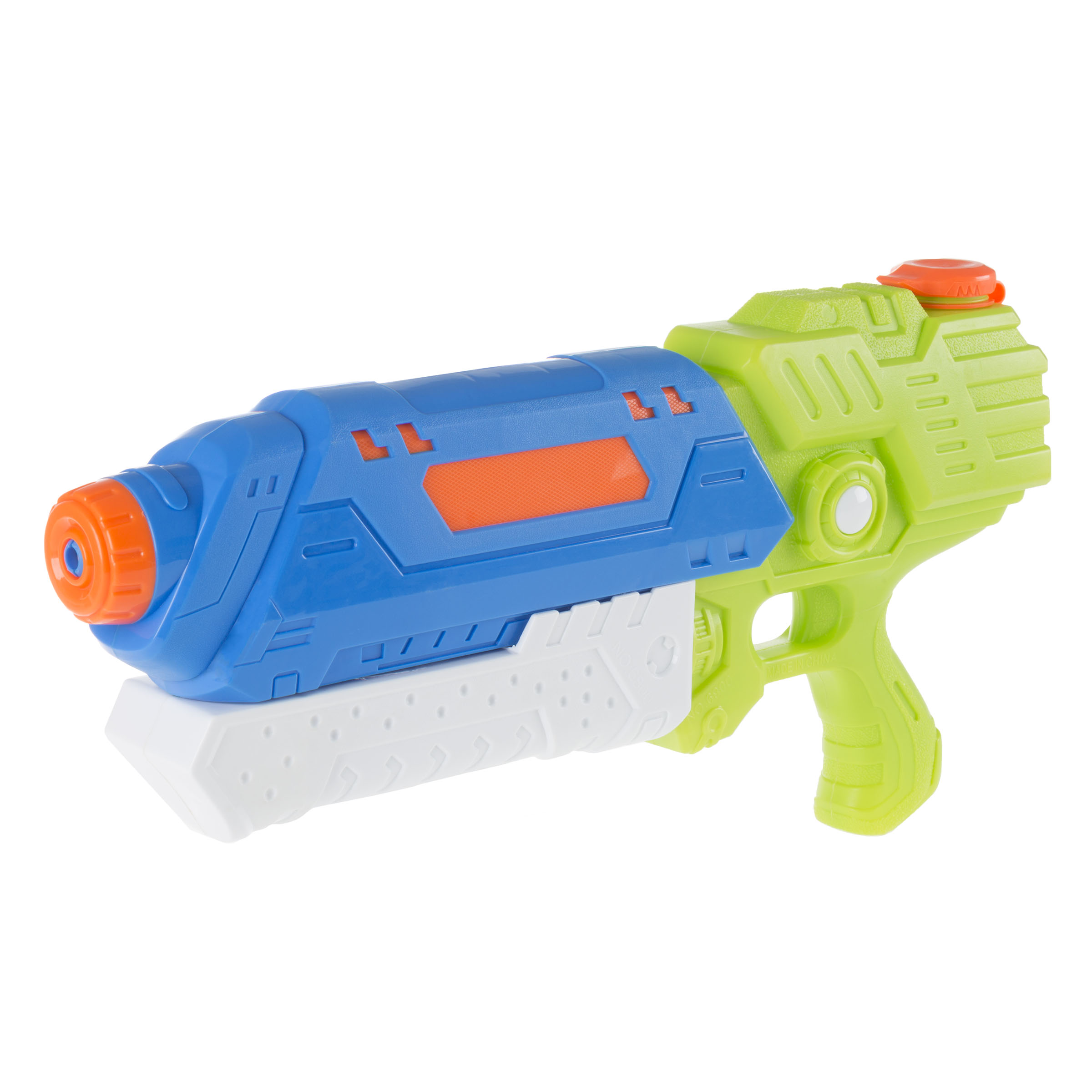 Water Gun Soaker with Air Pressure Pump- Lightweight Squirt Gun Toy for Beach, Pool and Outdoor Games for Kids and Adults by Hey! Play! (Blue/White)