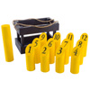 Wooden Throwing Game-Complete Set, 12 Numbered Pins, Throwing Dowel, Carrying Crate-Outdoor Lawn Games For Adults and Kids by Hey! Play! (Blue/Yellow)