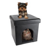 Pet House Ottoman- Collapsible Multipurpose Cat or Small Dog Bed Cube and Footrest with Cushion Top and Interior Pillow by PETMAKER (Faux Leather)