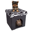 Pet House Ottoman- Collapsible Multipurpose Cat or Small Dog Bed Cube and Footrest with Cushion Top and Interior Pillow by PETMAKER(Zebra Print Plush)
