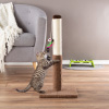 Cat Scratching Post - Tall Scratcher for Cats and Kittens with Sisal Rope and Carpet, Hanging Mouse Toy for Interactive Play by PETMAKER (24.5 Inch)