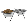 Stainless Steel Elevated Pet Bowls with Nonslip Iron Stand for Dogs, Cats- Raised Feeder for Food, Water with Removable Dishes- 40 Oz Each By PETMAKER