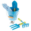 Kid?s Garden Tool Set with Child Safe Shovel, Rake, Fork, Gardening Gloves, and Bucket- Mini Gardening Kit for Boys and Girls by Hey! Play!