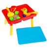 Water or Sand Sensory Table with Lid and Toys - Portable Covered Activity Playset for the Beach, Backyard or Classroom by Hey! Play!
