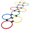 Hopscotch Ring Game-10 Multi-Colored Plastic Rings and 15 Connectors for Indoor or Outdoor Use-Fun Creative Play Set for Girls and Boys by Hey! Play!