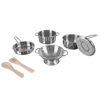 Kids Pots and Pans-Mini Stainless-Steel Colander, Pot, Skillet, Sauce Pan, Lid and 2 Wooden Utensils-Fun Realistic Pretend Play Set by Hey! Play!