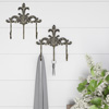 Decorative Hooks-3-Pronged Cast Iron Shabby Chic Rustic Fleur De Lis Wall Mount Hooks for Coats, Hats, Jewelry, and More by Lavish Home (Set of 2)