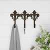 Decorative Hooks-3-Pronged Cast Iron Shabby Chic Rustic Fleur De Lis Wall Mount Hooks for Coats, Hats, Jewelry, and More by Lavish Home (Brown)