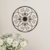 Medallion Metal Wall Art- 14 Inch Round Metal Home D�cor, Hand Crafted with Distressed Finish- Mounting Screws Included by Lavish Home