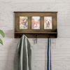 Wall Shelf and Picture Collage with Ledge and 3 Hanging Hooks- Photo Frame D�cor Shelving with Rustic Wood Look, Holds 4x6 Pictures By Lavish Home
