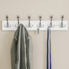 Wall Hook Rail-Mounted Hanging Rack with 6 Hooks-Entryway, Hallway, or Bedroom-Storage Organization for Coats, Towels, Bags by Lavish Home (White)