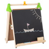 Three-in-One Easel ? Wooden Children's Double Sided Chalkboard and Whiteboard A-Frame with Paper Roll for Painting, Drawing and Writing by Hey! Play!
