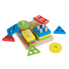 Wooden Shape Sorter-Classic Toddler Sorting and Counting Puzzle Toy-16 Cutout Blocks in 4 Colorful Geometric Shapes-Learning Activity by Hey! Play!