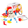Kids Veterinary Set-11 Piece Complete Toy Set-Pretend Play Set with Animal Medical Supplies, Plush Dog, and Carrier For Boys and Girls by Hey! Play!