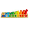 Wooden Counting Toy - Rainbow Wooden Stacking Rings and Peg Game for Preschool and Kindergarten Children to Learn Numbers and Math by Hey! Play!