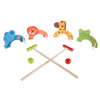 Kids Animal Croquet Set- Mini Croquet Playset with 4 Wooden Zoo Animal Design Wickets and 2 Mallets-Fun Classic Game for Boys and Girls by Hey! Play!