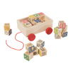 ABC and 123 Wooden Blocks with Pull Cart Storage Box- Alphabet Letters and Numbers Educational STEM Toy for Toddlers and Preschoolers by Hey! Play!