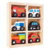 Wooden Car PlaySet-6-Piece Mini Toy Vehicle Set with Cars, Police and Fire Trucks, Train-Pretend Play Fun for Preschool Boys and Girls by Hey! Play!
