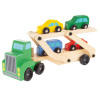 Wooden Truck Toy- 2 Level Loader Transporter Semi with 4 Colorful Cars-Fun Classic Pretend Play Lift Trailer Set for Boys and Girls by Hey! Play!
