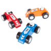 Toy Race Car Set- Wooden Racecars with 3 Hand Painted Colorful Cars, Moving Wheels for Racing- Fun Cars Set for Boys and Girls by Hey! Play!