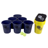 Large Beer Pong Outdoor Game Set for Kids and Adults with 12 Buckets, 2 Balls, Tote Bag by Hey! Play! (Blue and Yellow)