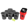 Large Beer Pong Outdoor Game Set for Kids and Adults with 12 Buckets, 2 Balls, Tote Bag by Hey! Play! (Red and Gray)