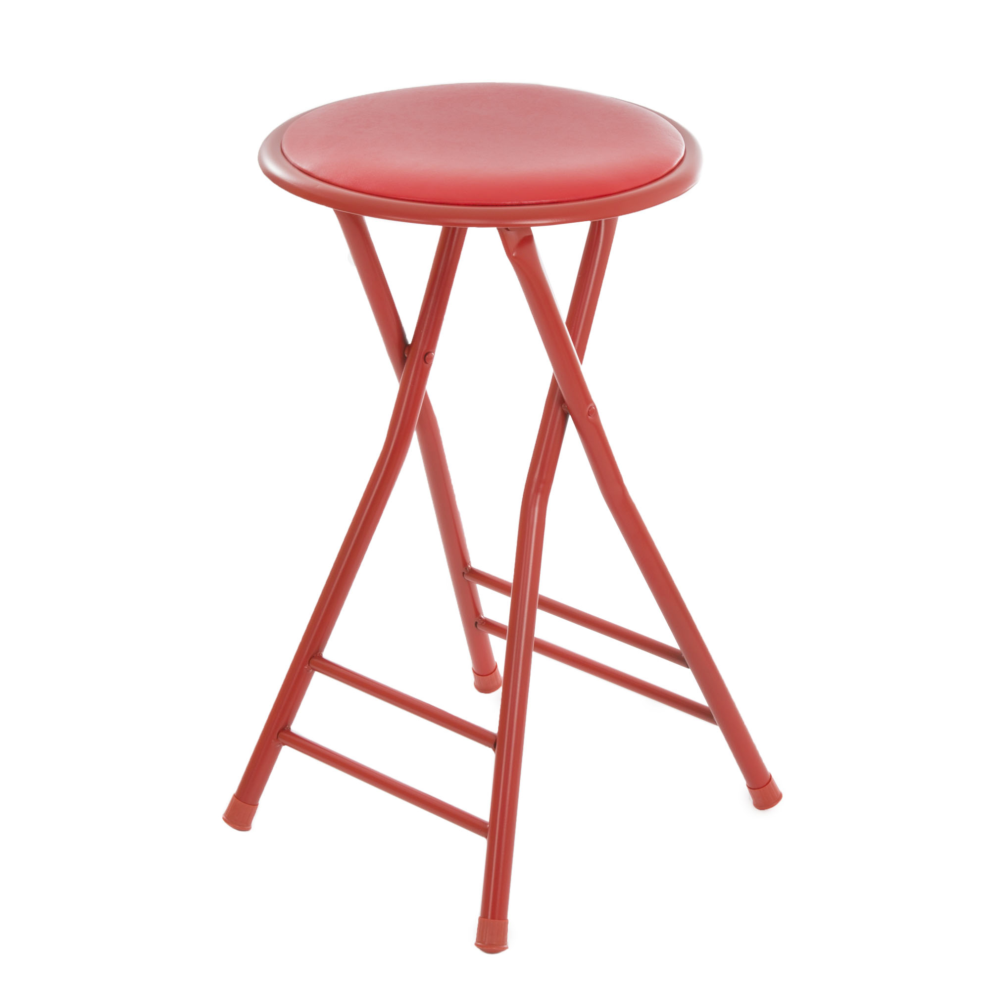 Trademark Home Collection 24 x 14 Cushioned Folding Stool - Red