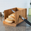 Bamboo Bread Slicer- Foldable, Adjustable Knife Guide and Board for Cutting Loaves Evenly- Perfect Food Prep Tool for Home Bakers by Classic Cuisine