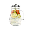 Glass Pitcher-64oz. Carafe with Stainless Steel Filter Lid- Heat Resistant to 300F-For Water, Coffee, Tea, Punch, Lemonade and More by Classic Cuisine