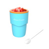 Slushy Maker-Single Serving Frozen Treat Cup for Easy to Make Homemade Slushes, Milkshakes, Smoothies, Cocktails, and More by Classic Cuisine (Blue)