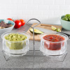 Cold Dip Bowls-2 Chilled Serving Containers with Ice Chambers and Caddy Carrier Stand-For Dip, Dressing, Salsa, Guacamole, and More by Classic Cuisine