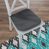 Memory Foam Chair Cushion-Square 16?x16.25? Plush Chair Pad with Ties and PVC Dot Backing for Kitchen, Dining Room, or Porch by Lavish Home (Charcoal)